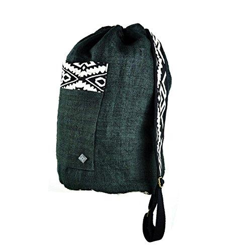 virblatt backpack and shoulder bag 100 % hemp hand woven patterns - (Woven Hemp)