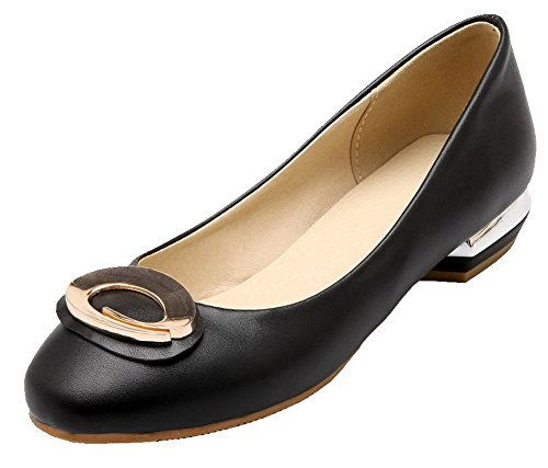On Odomolor Low Heels Shoes Pumps Solid Toe Pull Women's PU Black Closed 8rq4Tw8