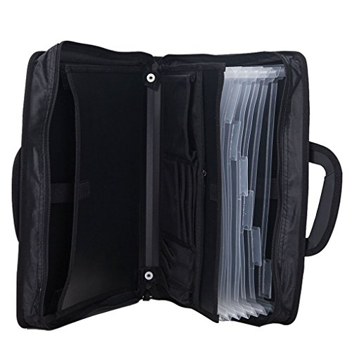 Men's Professional Business Portfolio Padfolio Briefcase Storage Organizer Large Folding Expandable File Folder iPad Document Receipt Note Project Tablet A4 Paper Carrying Case Holder With Handles