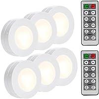 LUNSY Wireless LED Puck Lights, Closet Lights Battery...