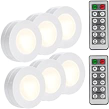 LUNSY Wireless LED Puck Lights, Closet Lights Battery Operated with Remote Control, Kitchen Under Cabinet Lighting Wireless, 4000K Natural White - 6 Pack