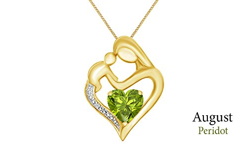 Simulated Peridot & White Natural Diamond Accent Mother & Child Heart Pendant in 14k Yellow Gold Over Sterling Silver (11/10 Cttw) 14k Yellow Gold Peridot Pendant