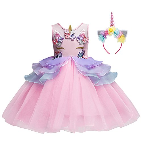Baby Kid Girl Summer Sleeveless Flower Applique Ruffle Rainbow Tutu Dress Unicorn Costume Party Pageant Cosplay Halloween Fancy Dress up Pink & Headband 130 -