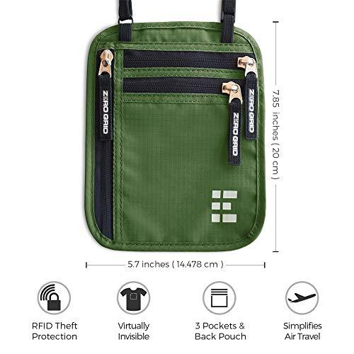 Zero Grid Neck Wallet w/RFID Blocking- Concealed Travel Pouch & Passport Holder (Forest)
