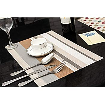 Image of AbeTammy Gray Line 1221 PVC Vinyl Placemats Table Mats Home and Kitchen