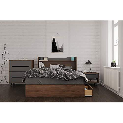 Nexera Cartel 4 Piece Full Size Bedroom Set Walnut & Charcoal by Nexera
