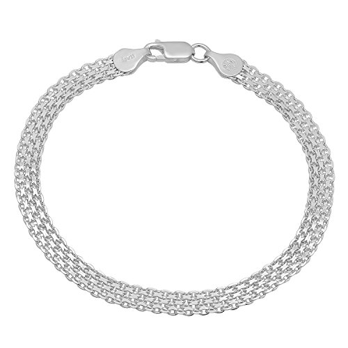 Sterling Silver White Anklet (Solid 925 Sterling Silver 5.5mm Bismark Chain Bracelet Made in Italy,)