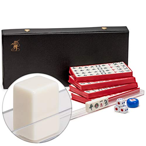 Yellow Mountain Imports Chinese Mahjong, White Tile Mini Travel Set with Vinyl Case - Four Racks & Dice