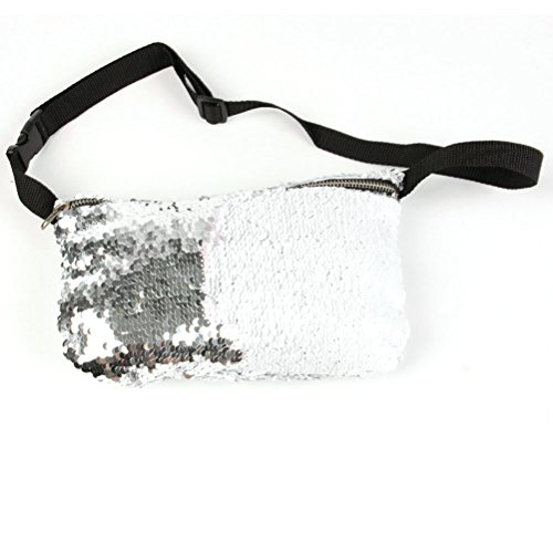 Tinksky Sequins Taille Tasche Kosmetik Makeup Fanny Pack Beiläufige Sport Taille Tasche Multifunktionale Taille Packs