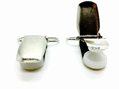 Silver Metal Brace Clips for Trousers and Denim Jeans - Suspender Fastener for Elastic Straps - Holder Grips for Men and...