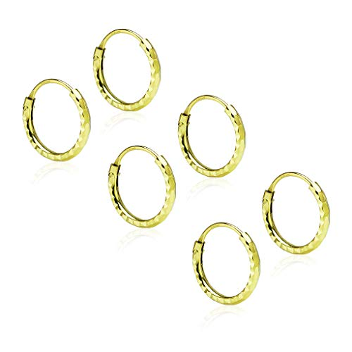 (Sterling Silver 3 Pair Set Diamond-Cut Tiny Small Endless Hoop Earrings 1.2mm x 10mm Lightweight Unisex Yellow Gold Flashed Finish)