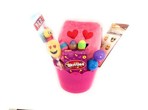 Emoji Pink Easter Gift Basket Emoji Square Pillow Easter Treat Emoji Pez