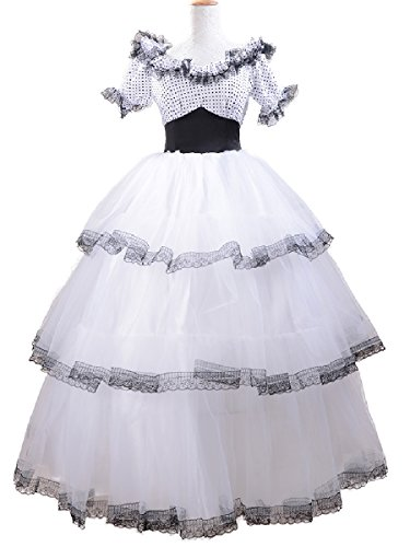 [Adult Lolita Dress Southern Belle Costume White Peplum Lace Bridesmaid's Gown M] (Southern Belle Costumes Adult)