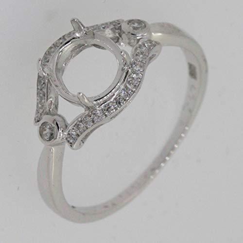FidgetKute Sterling Silver Semi Mount Ring Setting OV6X7mm Size 8 SR180 with White Topaz