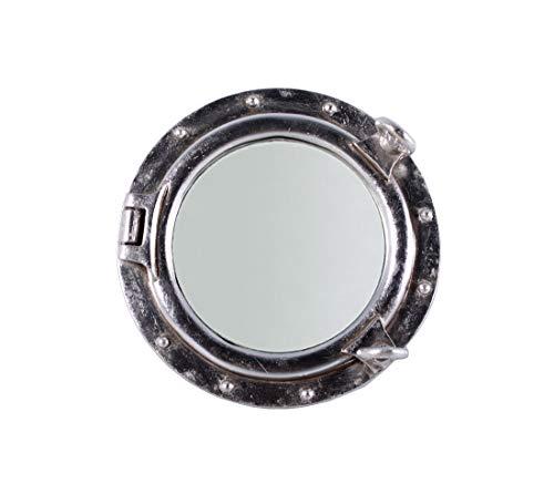Nautical Tropical Imports Porthole Mirror Wall Mount Silver Leaf Finish 12 Inch - Hull Mirrors Bathroom