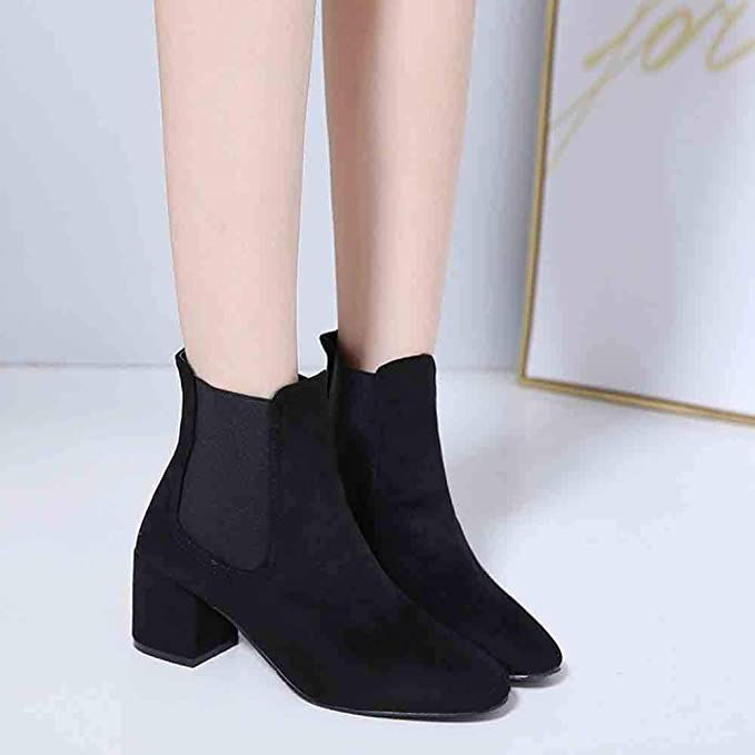 Amazon.com: Hunzed Women Shoes Sleeve Suede Leopard Booties high Heel Boots Thick with Womens Boots: Kitchen & Dining