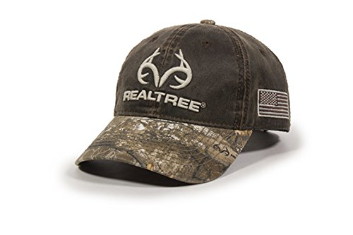 Realtree Edge / Weathered Brown Buck Horn And USA Flag Hunting Hat from Realtree Edge
