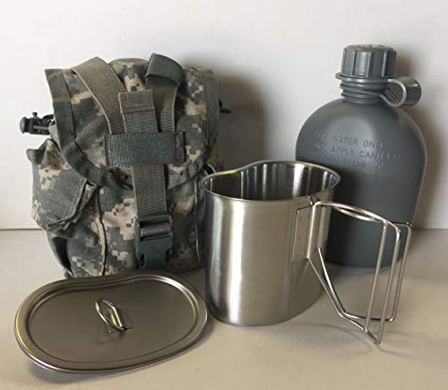 (G.A.K 90026 G.I. TYPE, U.S made 1 QT Canteen With Stainless Steel Cup and LID & Military Issue ACU MOLLE II Pouch Kit.)