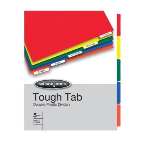 Wilson Jones Tough Tab Durable Binder Dividers, Letter Size, 5 Tabs, Multi-Color (W53240A)