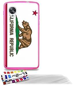 """Carcasa Flexible Ultra-Slim GOOGLE NEXUS 5 de exclusivo motivo [Bandera California] [Rosa caramelo] de MUZZANO  + 3 Pelliculas de Pantalla """"UltraClear"""" + ESTILETE y PAÑO MUZZANO REGALADOS - La Protección Antigolpes ULTIMA, ELEGANTE Y DURADERA para su GOOGLE NEXUS 5"""