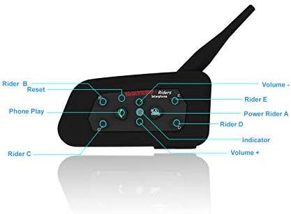 Helmet Intercom Full Duplex Bluetooth Headset Communication System for Motorcycle//Motorbike Rider with FM Radio//Audio GPS Direction Range-0.74 Mile//Speed-74.5mile//h