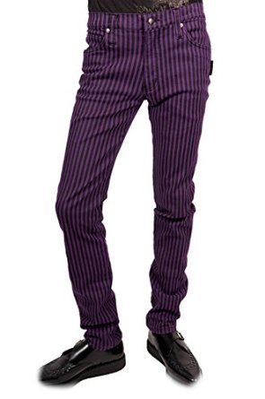 Tripp Men's Joker Striped Skinny Tight Goth Punk Jeans Pants (30) (Joker Jeans)