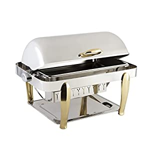 """Bon Chef 10040CH Stainless Steel Manhattan Non-Dripless Rectangular Chafing Dish with Vented Lid and Roman Design Legs, Chrome Trim Finish, 2 gal Capacity, 27-1/2"""" Diameter x 18-3/4"""" Width x 18-1/2"""" Height"""