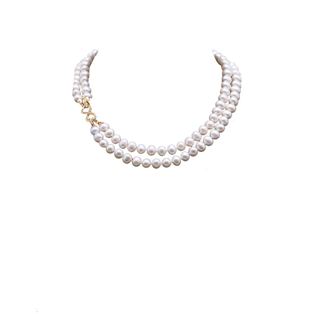 JYX 9-10mm White Freshwater Pearl Necklace Strand with Multiple-use