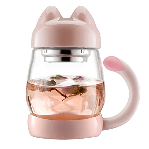 BZY 420 ml / 14 oz Portable Cute Cat Tail Glass Tea cup with a lid , Heat Resistant Mugs with a Strainer