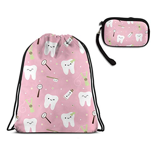 WONDERMAKE Women Teens Girls Pink Dental Toothpaste Sports Travel Organizer Pouch Drawstring Beam Mouth Backpack Wristlet Coin Purse Wallet Zipper Change Holder 2 Pieces Set -