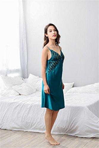 Pezzi Kimono Pigiama Embroidery Verde Malachite Luxury Abito Donna Set 2 Sexy Di Merciy qfACxO