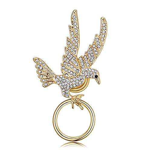 TUSHUO Rhinestone Studded Zinc Alloy FLying Eagle Strong Magnetic Brooch Eyeglass Holder
