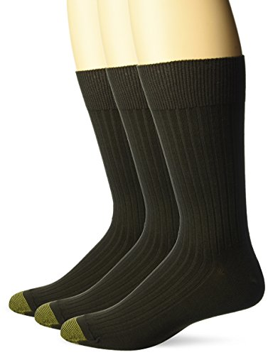 Gold Toe Men's Classic Canterbury Crew Socks (Pack of 3), Brown, Shoe Size: 12-16