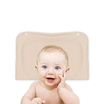 Baby Pillow for Newborn Prevent Flat Head Syndrome, Baby Memory Foam Head-Shaping Pillow for Infant with Organic Cotton Case (Beige)