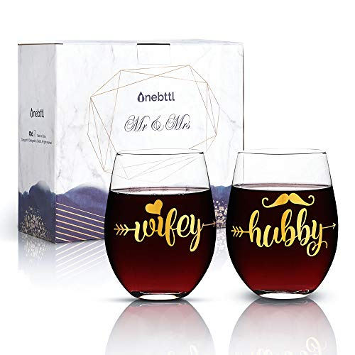 Onebttl Wedding Gifts for the Couple, Hubby and Wifey Wine Glasses Set with Gift Card for Bridal Shower, Anniversary, Engagement, Valentine's Day, Christmas (17oz) (Wifey Shower)