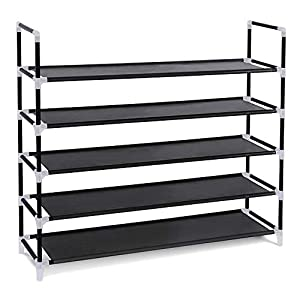 YOUUD Shoe Rack 5-Tiers Shoe Storage Organizer Space Saving Shoe Tower Stackable Shelves Shoes Organizer Black Holds 25 Pairs of Shoes