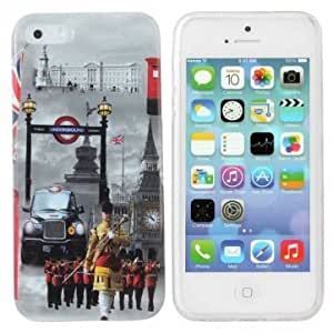 London Review Troops Pattern TPU Case Back Cover For iPhone 5 5S