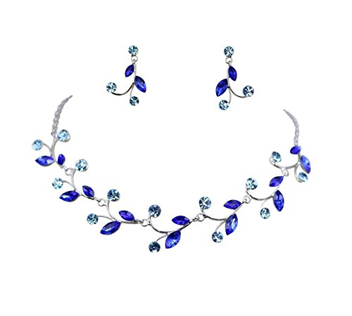 - Faship Gorgeous Blue Rhinestone Crystal Floral Necklace Earrings Set - Blue