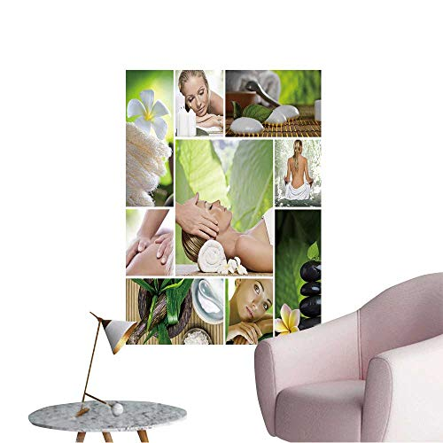 (Wall Stickers for Living Room Spa Theme Photo Collage Composed of Different Images Vinyl Wall Stickers Print,12