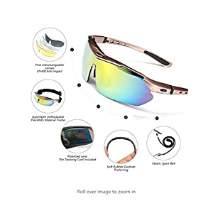 ODODOS Polarized Sports Sunglasses With 5 Interchangeable Lenes for Cycling Baseball Running Fishing Unbreakable Frame