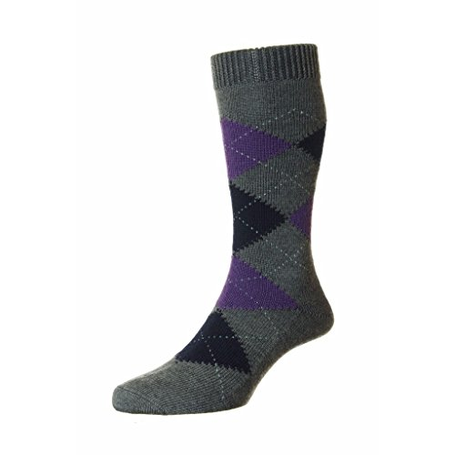 Pantherella Racton Merino Wool Argyle Mid Calf Mens Socks, Dark Grey - Large
