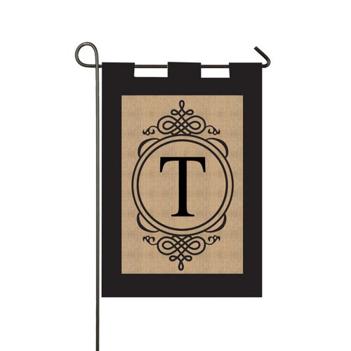 Gifted Living Garden Sub Burlap Monogram T Outdoor Flag (Flag Monogram)