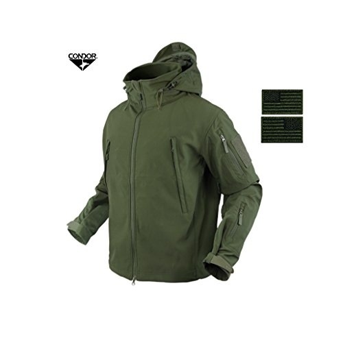 Condor 602 Summit Soft Shell Jacket, OD Green + 2 Free OD Green/Black Velcro Flag Patches (Medium) Condor Wash