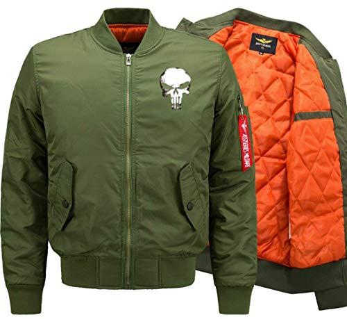 De Flight Cráneo Hombres 1 De Jacket Lino Battercake Modelado Los De Chaqueta Delgado Acolchado Manga De Larga Cómodo Chaqueta Bombardero Green Jacket Chaqueta Collar Vuelo De XBXHqAz