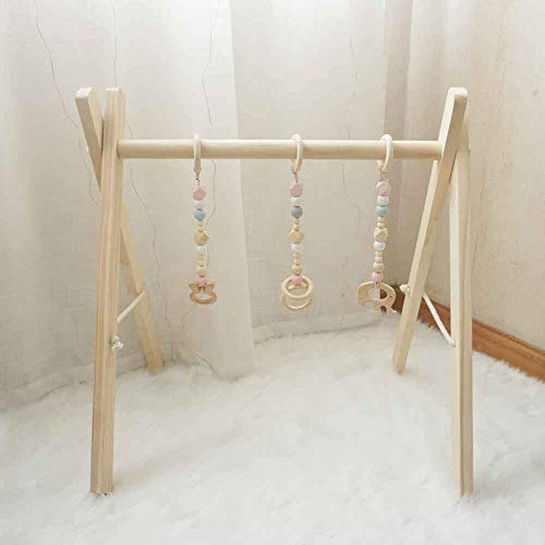 Cynzia Baby Foldable Wooden Play Gym with 3 Theething Gym Toys Frame Activity Gym Natural Hanging Bar Newborn Gift Baby Girl and Boy Gym (Pink)