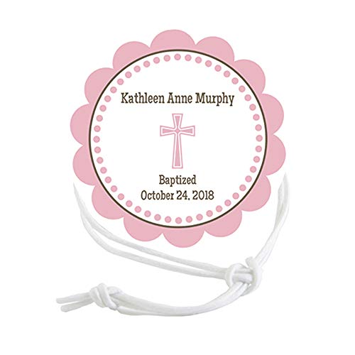 Napkin Knots Baptism First Communion Napkin Ring - Pink Scalloped Border Customized Personalized (Pack of 10) (Standard)
