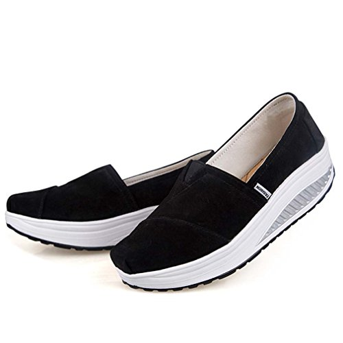 Solshine Platform Women's Running Solid Suede Shoes Slip on Loafers Wedge qAqUw7T