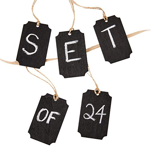 Genie Crafts 24-Piece Mini Wooden Chalkboard Tag Labels with String for Gifts, Mason Jars, DIY Crafts, 3 x 2 Inches