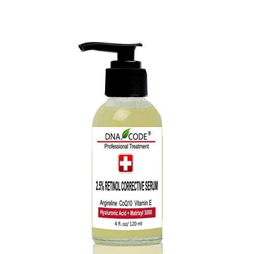 DNA Code®- Retinol 2.5% Corrective Serum + CoQ10, Argireline,Hyaluronic Acid +Matrixyl 3000-2OZ & 4OZ Corrective Whitening Serum
