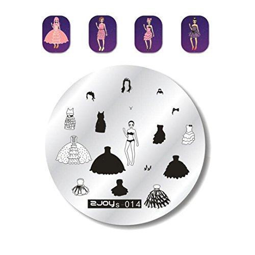 ❤JPJ(TM)❤️ Women Nail Stickers,Nail Art Stickers,Girls Creative Nail Art Stamp Stamping Plates DIY Manicure Template Nail Stamping Plates Best Decoration For Your Nails (Halloween Black N White Nails)